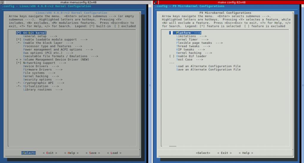 Linux kernel 與 f9-kernel 按鈕