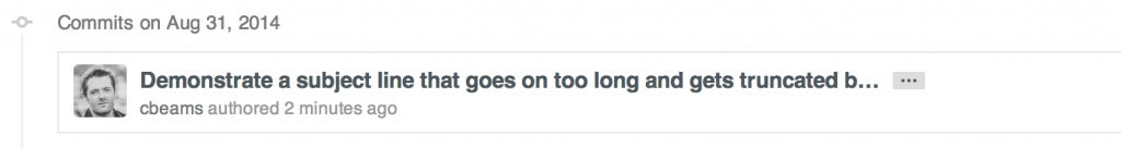 GitHub truncate subject line longer than 72 characters with ellipsis